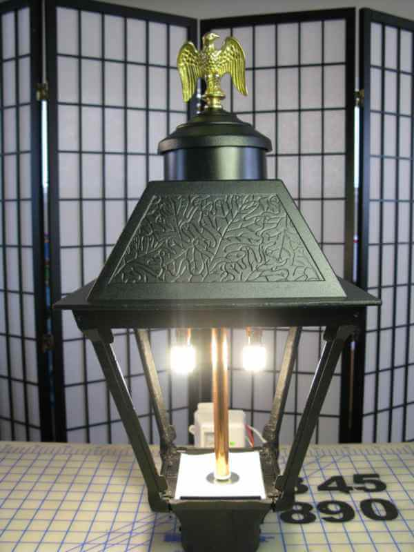 Post Lantern with LED Dusk-to-Dawn Kit