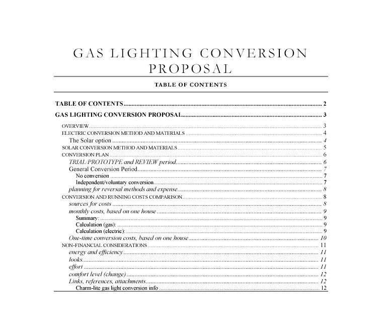 Example of an HOA Gas Light Conversion Proposal